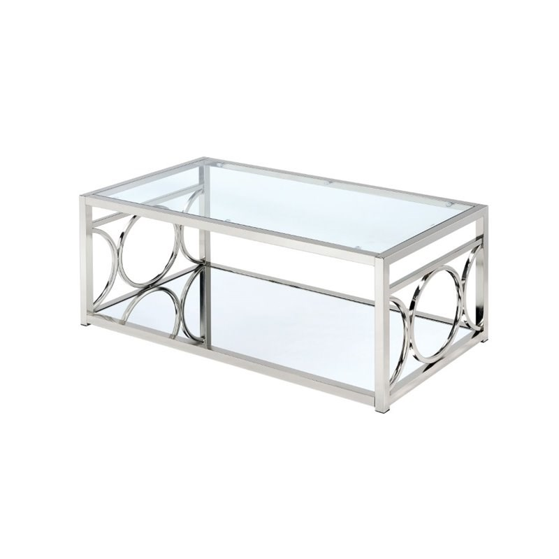 furniture of america beller contemporary metal coffee table in chrome