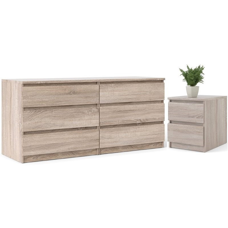 6 drawer double dresser and 2 drawer nightstand set in truffle