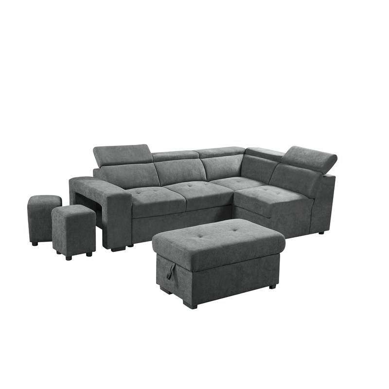 henrik light gray sleeper sectional sofa with storage ottoman and 2 stools