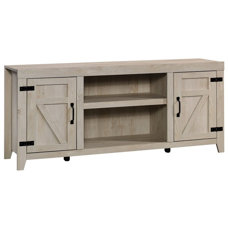 sauder engineered wood tv stand for tvs up to 70 in chalked chestnut