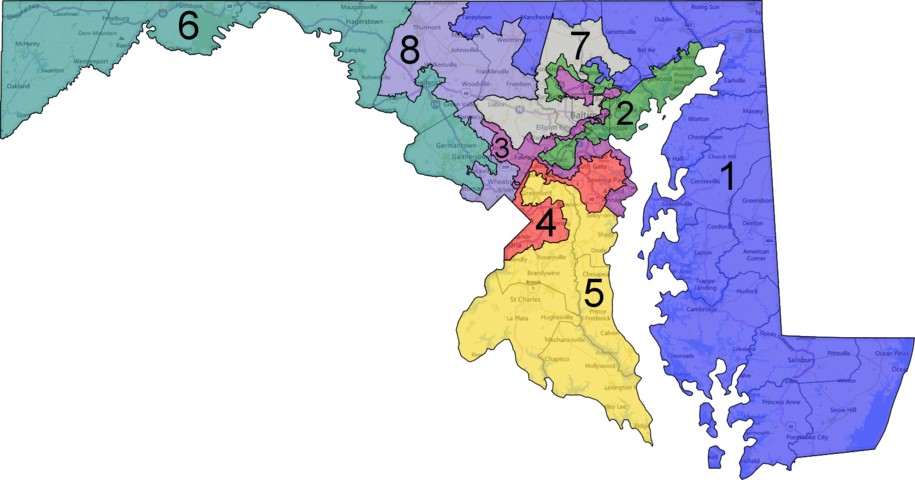 A map of Maryland showing gerrymandered districts.