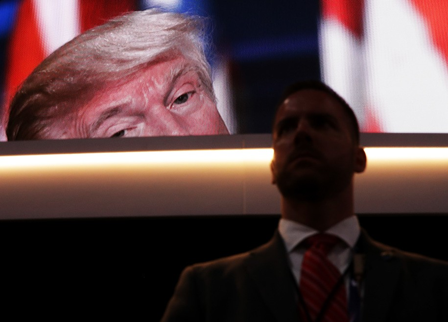 CLEVELAND, OH - JULY 21:  A screen displays Republican presidential candidate Donald Trump delivering his speech during the evening session on the fourth day of the Republican National Convention on July 21, 2016 at the Quicken Loans Arena in Cleveland, Ohio. Republican presidential candidate Donald Trump received the number of votes needed to secure the party's nomination. An estimated 50,000 people are expected in Cleveland, including hundreds of protesters and members of the media. The four-day Republican National Convention kicked off on July 18.  (Photo by Chip Somodevilla/Getty Images)