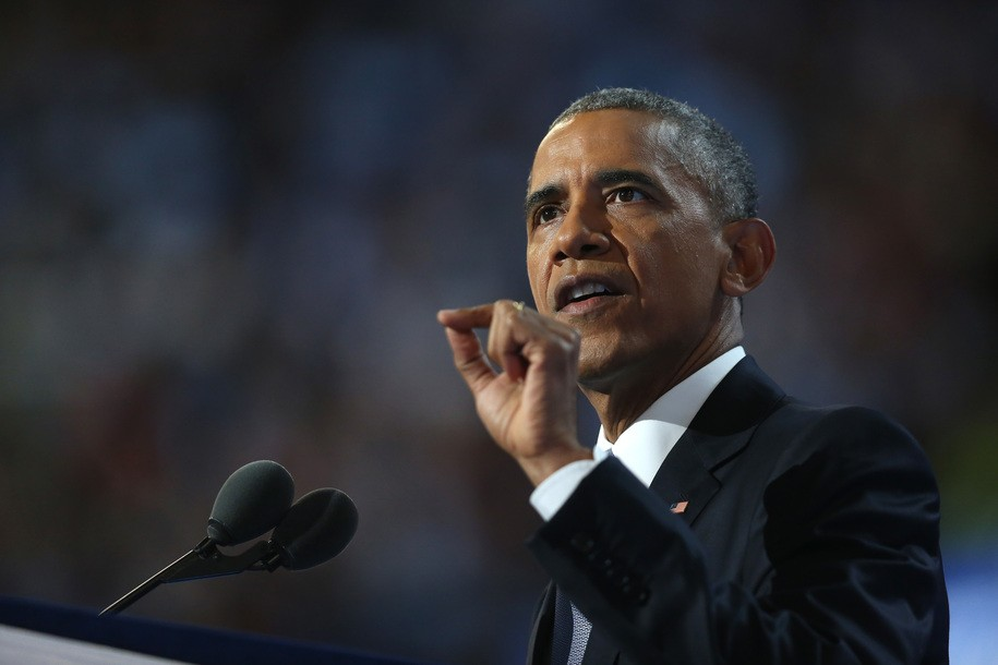 PHILADELPHIA, PA - JULY 27:  US President Barack Obama delivers remarks on the third day of the Democratic National Convention at the Wells Fargo Center, July 27, 2016 in Philadelphia, Pennsylvania. Democratic presidential candidate Hillary Clinton received the number of votes needed to secure the party's nomination. An estimated 50,000 people are expected in Philadelphia, including hundreds of protesters and members of the media. The four-day Democratic National Convention kicked off July 25.  (Photo by Joe Raedle/Getty Images)