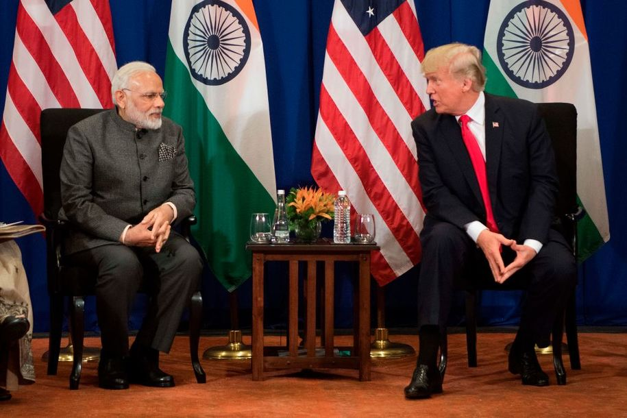 US President Donald Trump (R) speaks with Indian Prime Minister Narendra Modi during a bilateral meeting on the sideline of the 31st Association of Southeast Asian Nations (ASEAN) Summit in Manila on November 13, 2017. .World leaders are in the Philippines' capital for two days of summits. / AFP PHOTO / JIM WATSON (Photo credit should read JIM WATSON/AFP/Getty Images)
