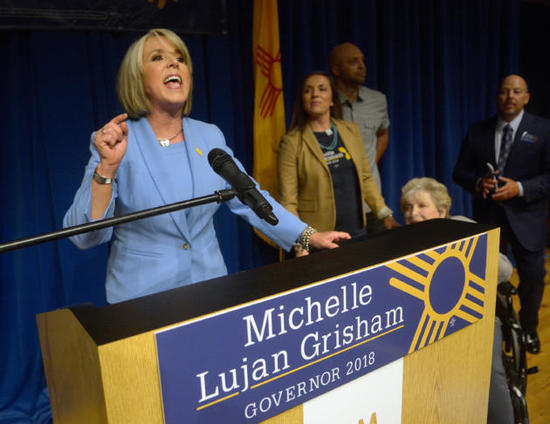 gbs060518c/ASEC -- Democratic candidate for New Mexico Governor, Michelle Lujan Grisham addresses her supporters after winning the primary during an election celebration at the Albuquerque Museum on Tuesday, June 5, 2018. (Greg Sorber/Albuquerque Journal)