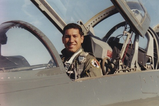 Hawaii state Sen. Kai Kahele (D), in the cockpit of a combat jet