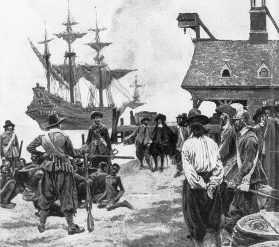 Landing Negroes at Jamestown from Dutch man-of-war, 1619. 20 slaves sold to colonists. Illus. in Harper's Monthly Mag., v. 102, 1901 Jan., p. 172