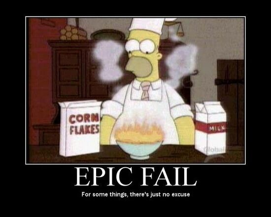 Epic Fail: Homer Simpson with corn flakes on fire