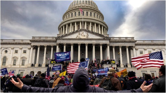 Pro-Trump protesters gather in front of the U.S. Capitol Building on January 6, 2021 in Washington, DC. Trump supporters gathered in the nation's capital to protest the ratification of President-elect Joe Biden's Electoral College victory over President Trump in the 2020 election. A pro-Trump mob later stormed the Capitol, breaking windows and clashing with police officers.