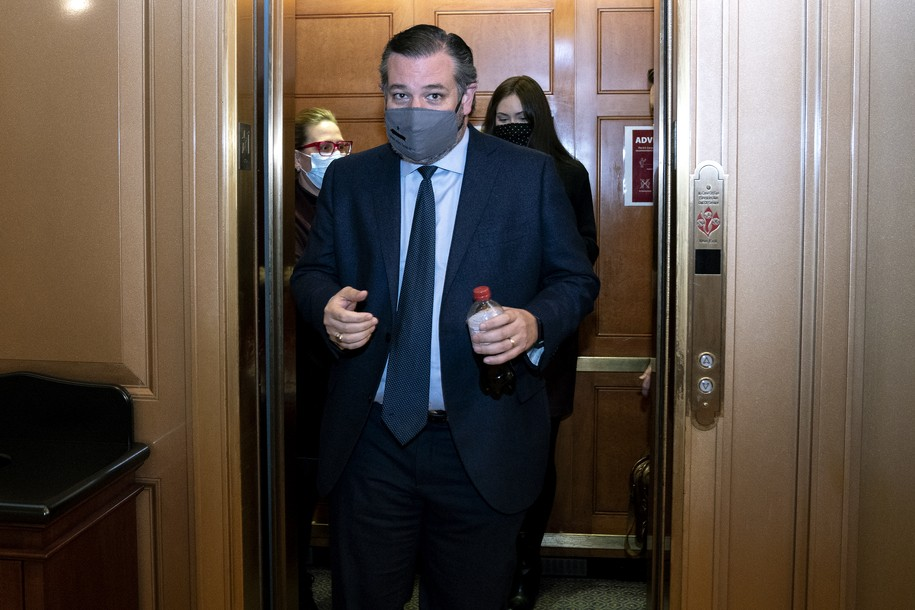 WASHINGTON, DC - FEBRUARY 13: Sen. Ted Cruz (R-TX), wears a protective mask while departing the U.S. Capitol on February 13, 2021 in Washington, DC. The Senate voted 57-43 to acquit Trump of the charges of inciting the January 6 attack on the U.S. Capitol. (Photo by Stefani Reynolds - Pool/Getty Images)