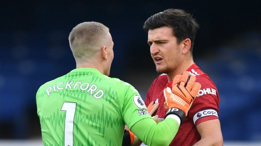 Maguire reacts to Pickford penalty incident in Manchester ...