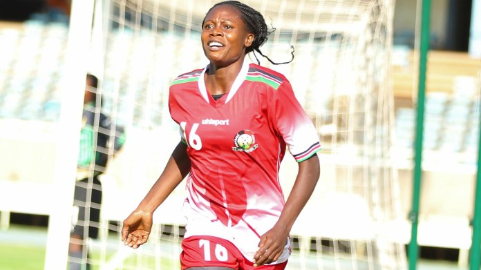 Mercy Achieng of Kenya Harambee Starlets v scoring against Ghana.