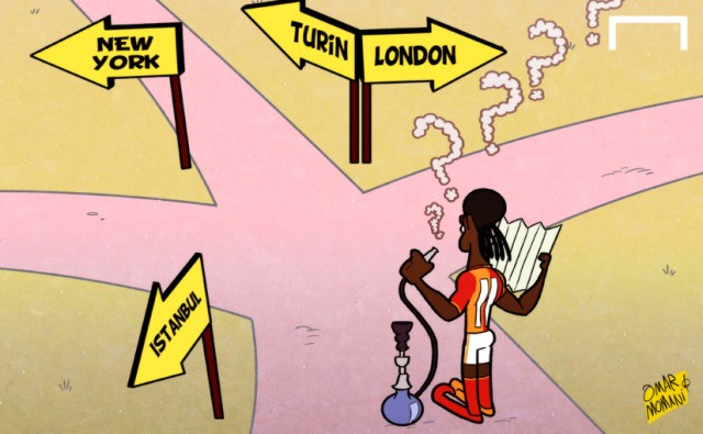 Cartoon Drogba in the cross roads