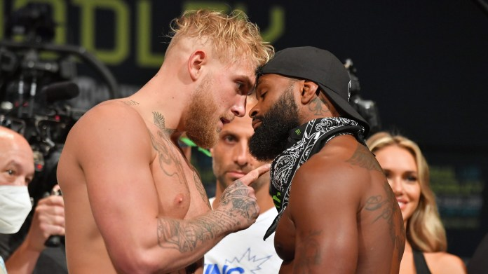 At Jake Paul vs. Tyron woodley, Brawl almost breaks out weigh-ins over failed 'Gotcha hat'