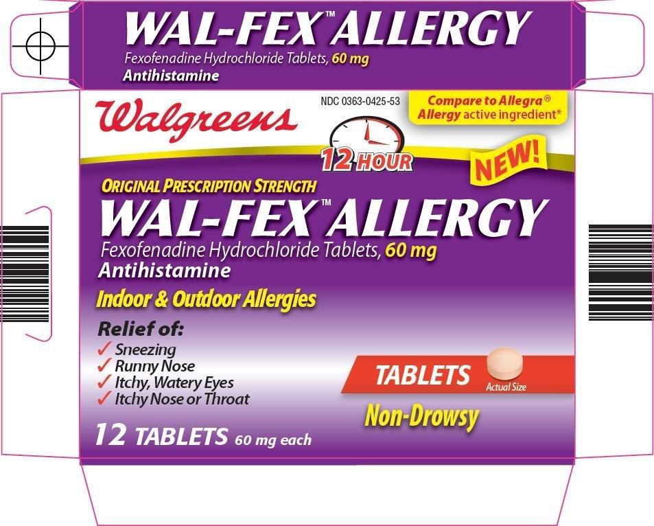 Wal fex Allergy (Walgreen Company) FEXOFENADINE HYDROCHLORIDE 60mg ...