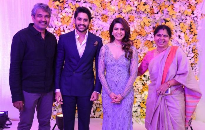 Rajamouli and his wife attend Samantha, Naga Chaintanya Wedding Reception