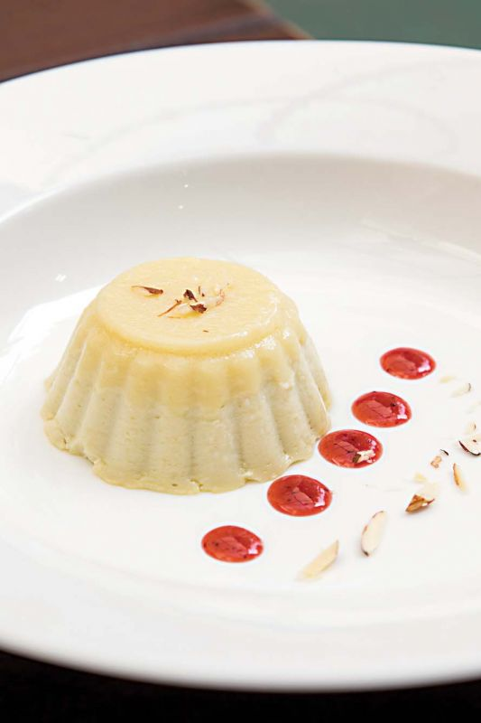 Sangkaya is a silky smooth Thai style custard served with a berries reduction