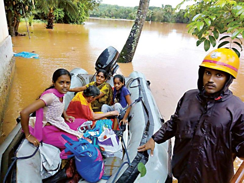 People from a rain-hit area being shifted from Shibaroor and Soorinje near Mangaluru on Saturday