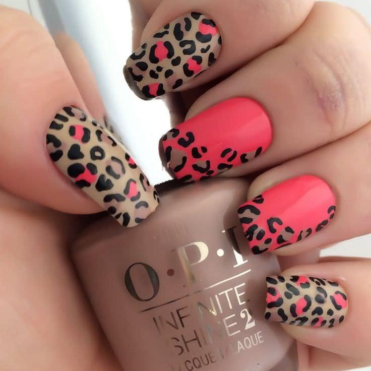 Matte Leopard Nail Art Sparkle Design