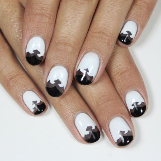 Black Formal Lace Nail Art With White French Tip Design