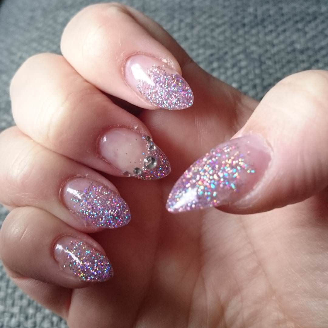 Diamond Glitter French Tip Idea Nail Design