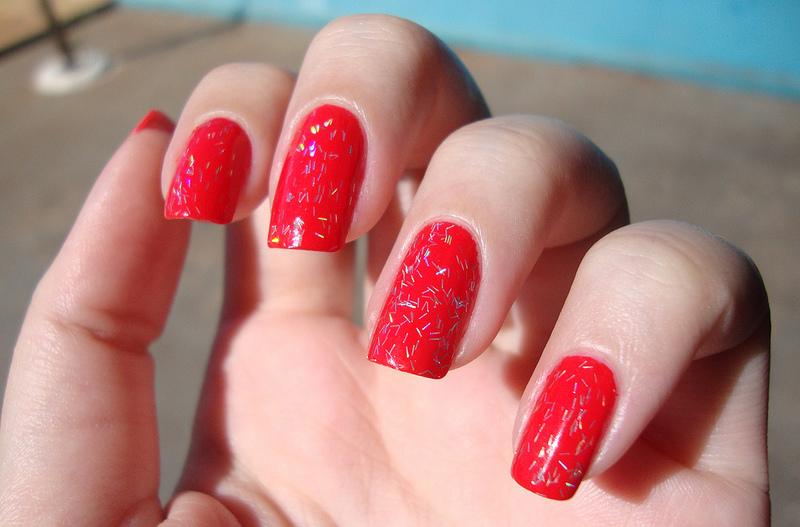 Pure Red Glitter Nail Design