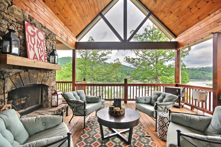 Covered Deck Fireplace Enclosed