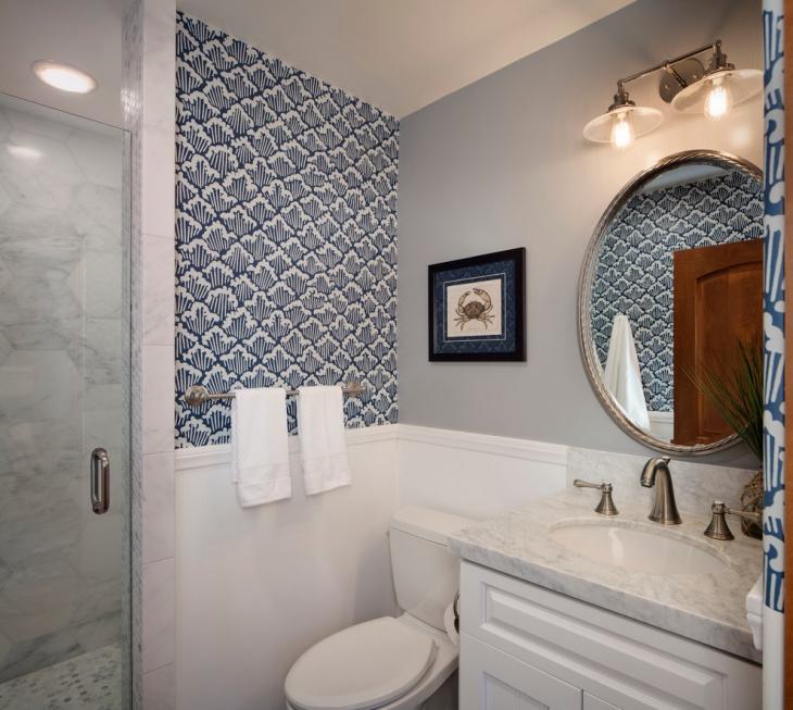 beach themed bathroom vanity. beach bathroom with wall design,