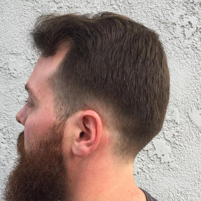 Classic Taper Haircut Comb Over And Beard