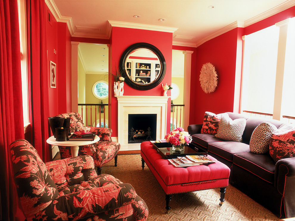 25+ Red Living Room Designs, Decorating Ideas