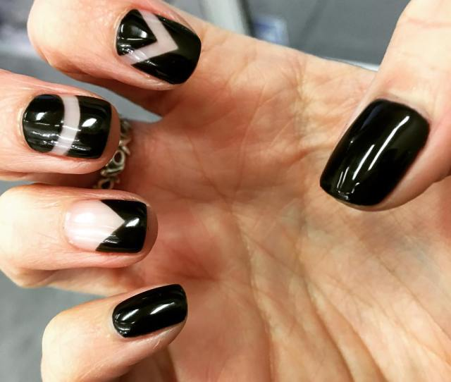 Shellac Black Colored Nails