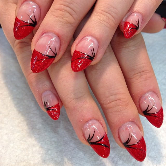 Prev Next Nail Simple Cool Black Red Flower Pattern Art Design