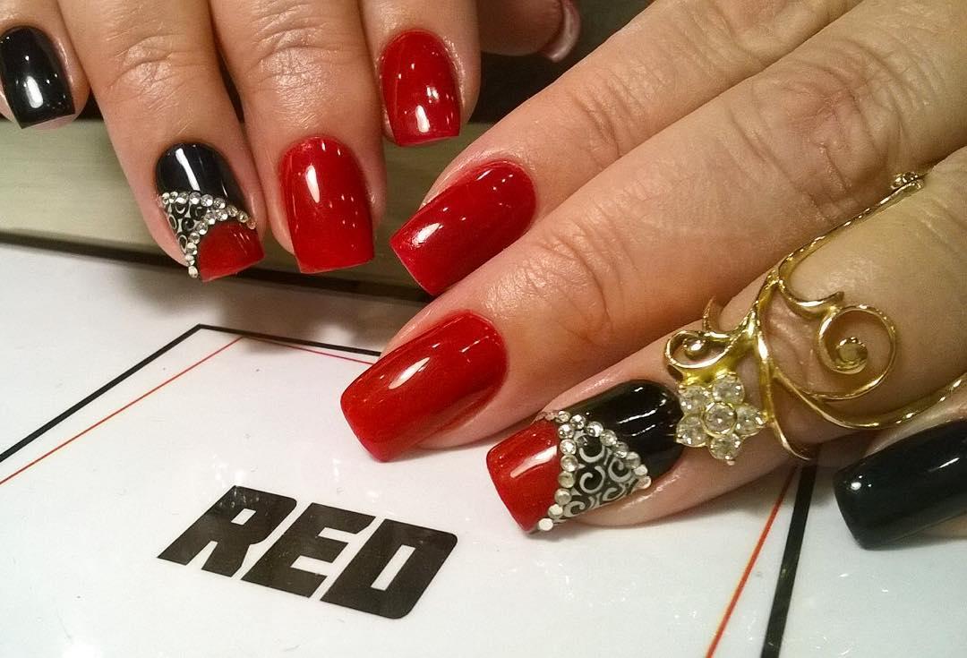 Black Nail Art On Red Nails