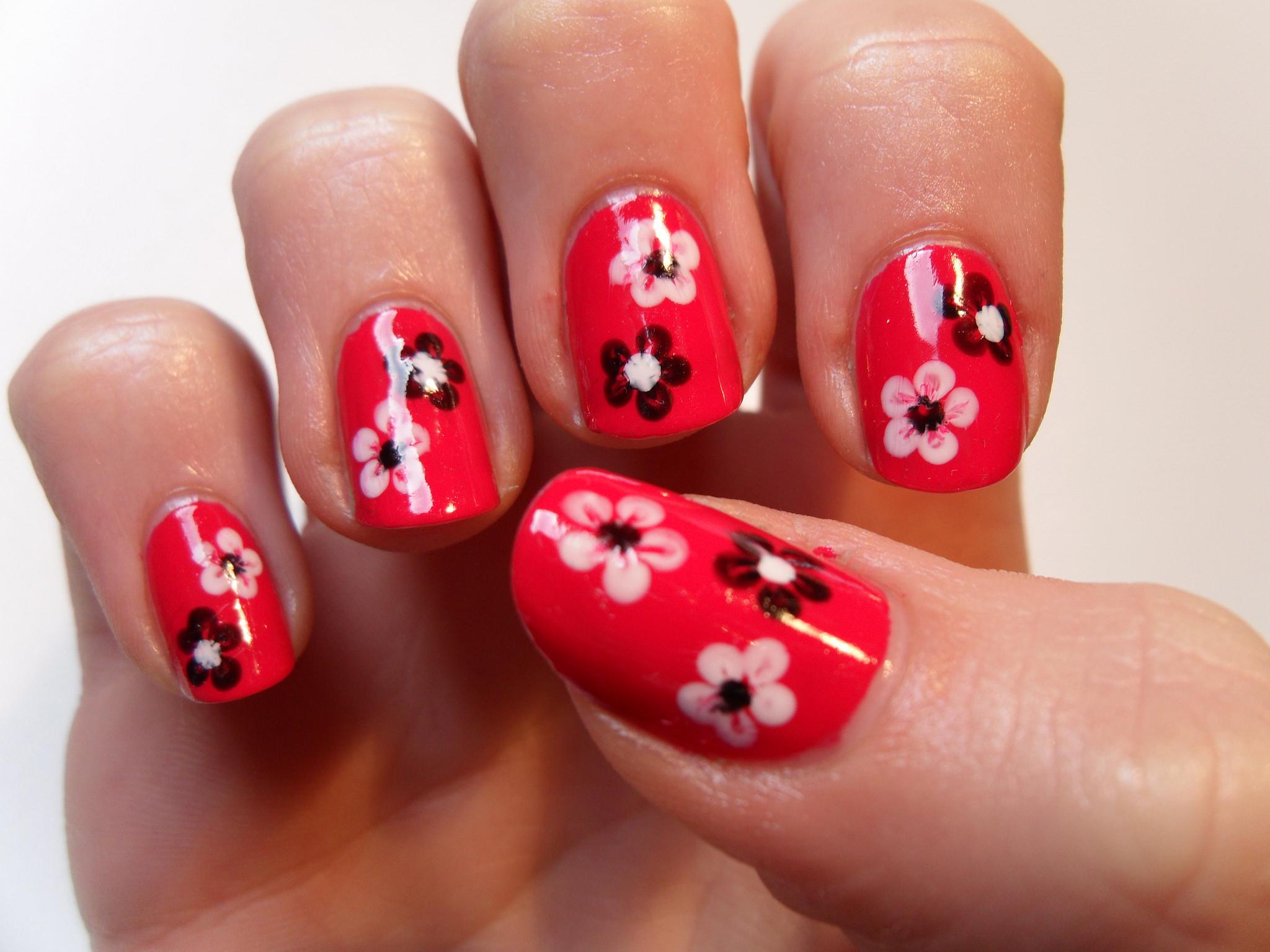 Fl Nail Art On Red Nails