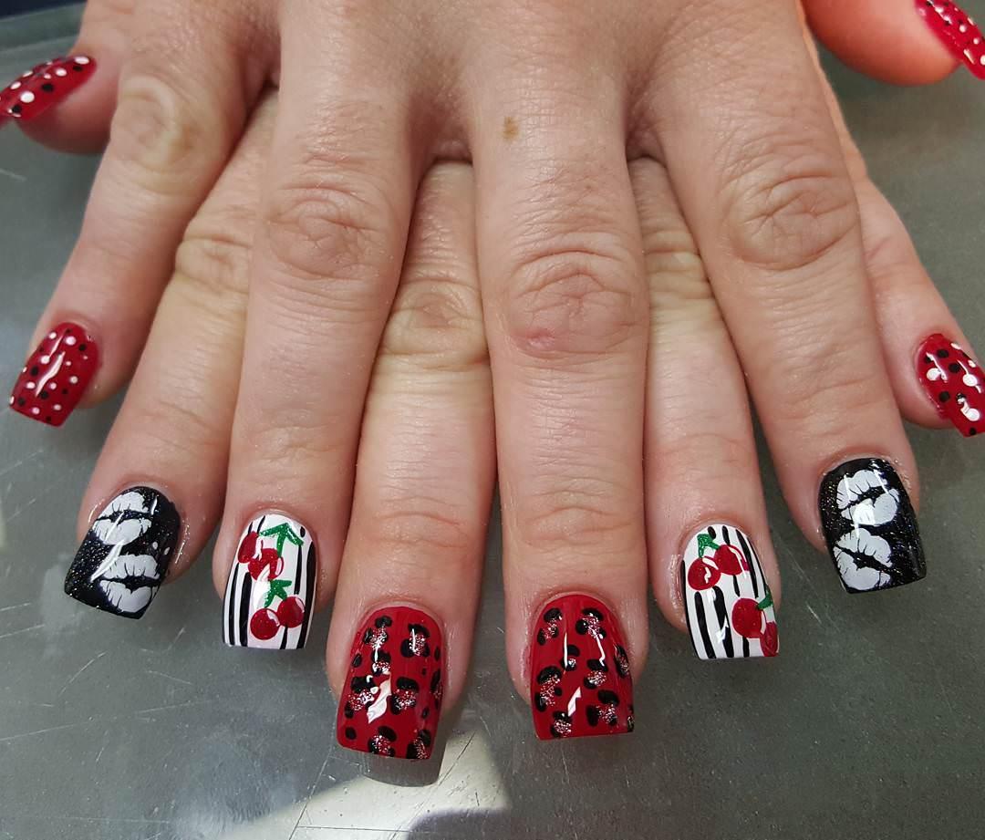 Cherries Nail Design Art For White Skin