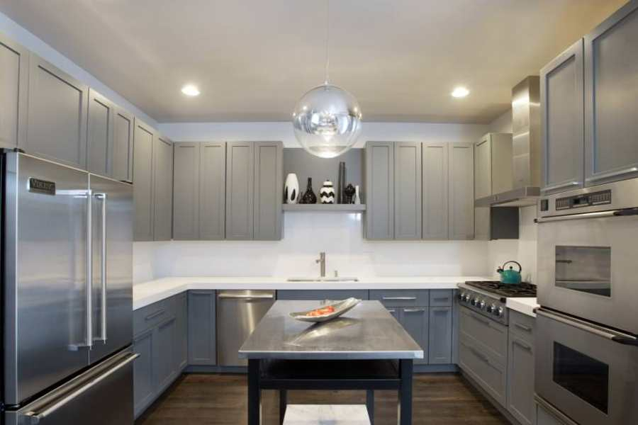 24  Grey Kitchen Cabinets Designs  Decorating Ideas   Design Trends     Stylish Modern Kitchen With Gray Cabinet