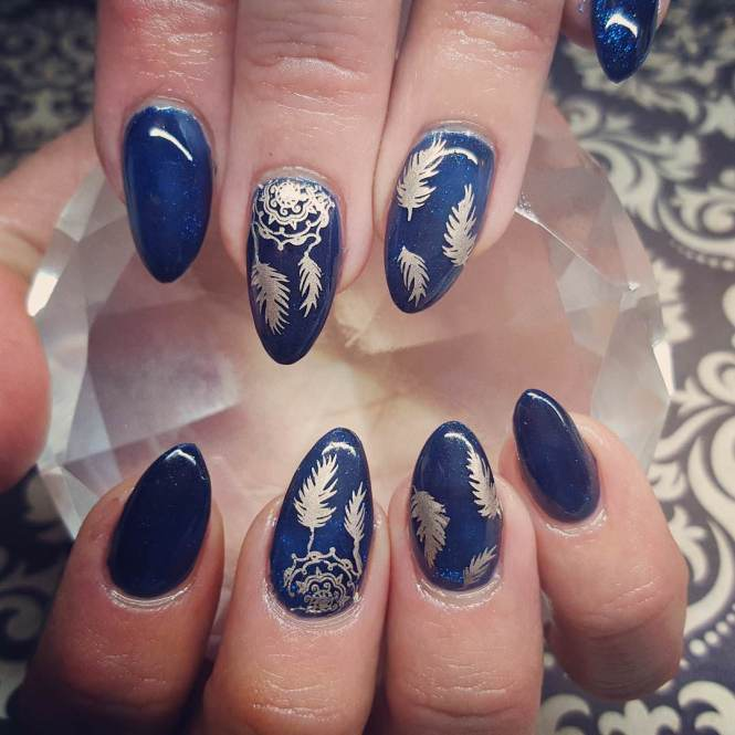 Gold Dark Blue Nail Design