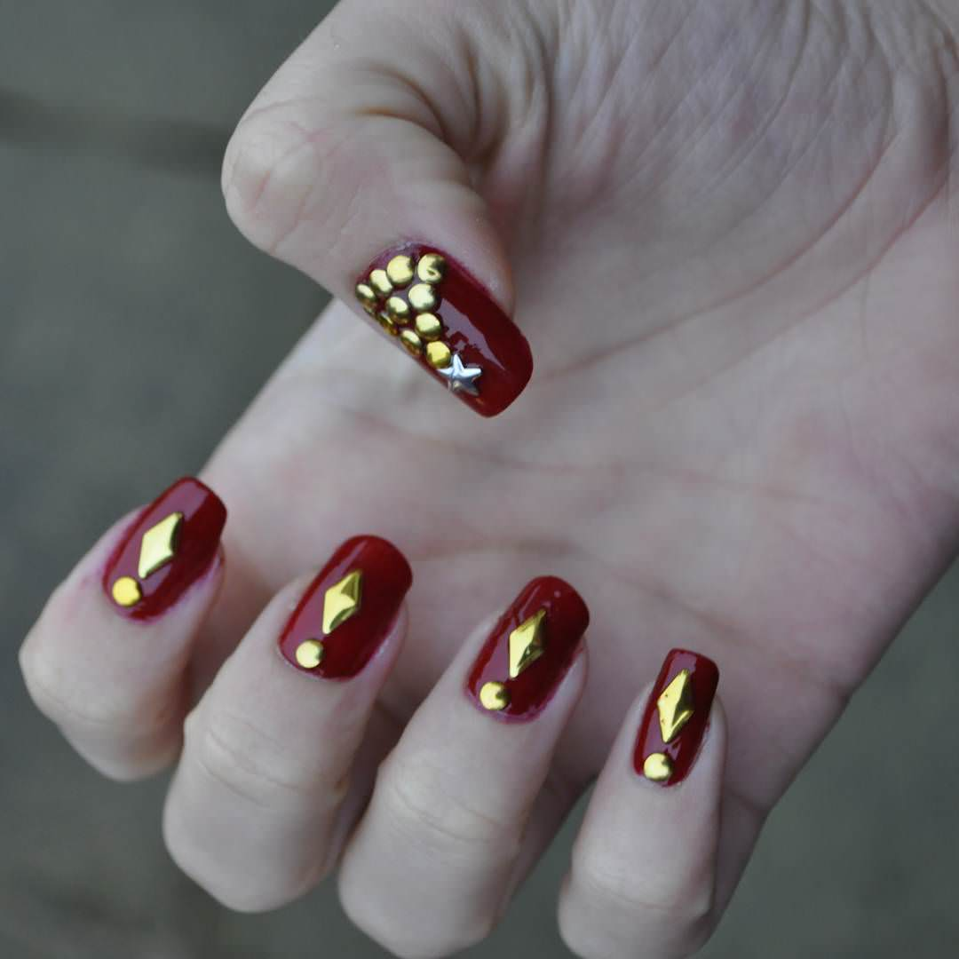 Beautiful Red And Golden Nail Art
