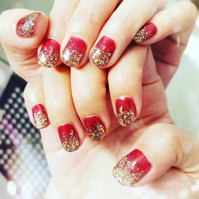 Ideas Red And Gold Nail Designs