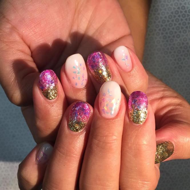 A Beautiful Fall Inspired Nail Art Design Using Matte Melon And Gold Polish