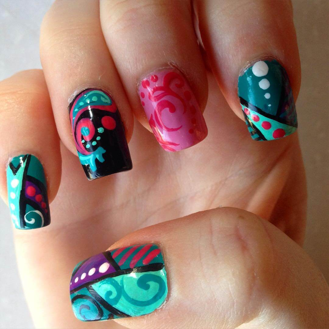 Colorful Nail Art For Square Nails