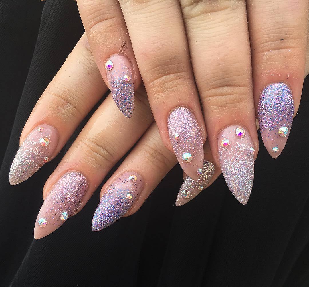 Glitter Pointed Nail Art Design