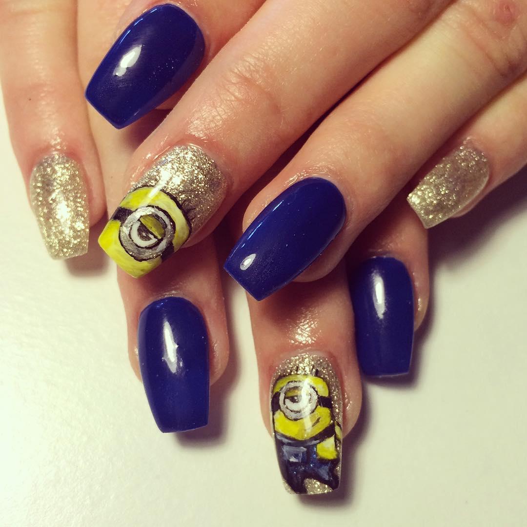 Gold And Blue Raoyal Nail Art