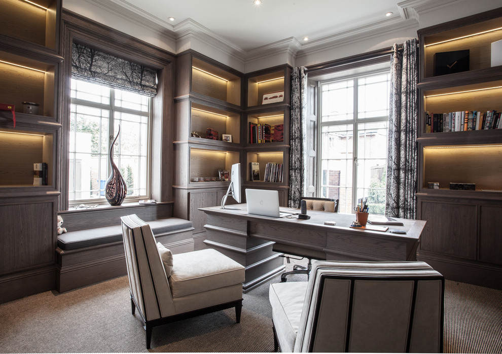 21+ Contemporary Gray Home Office Designs , Decorating ...