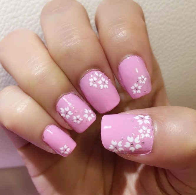 Handpaint Cherry Blossoms 3d Sculpted Acrylic Spring Nails Stilleto Press On