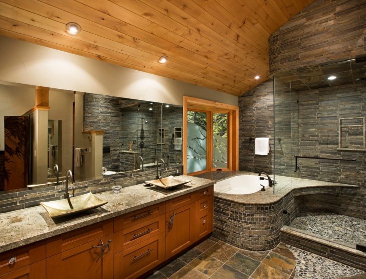 21+ river rock bathroom designs, decorating ideas | design trends
