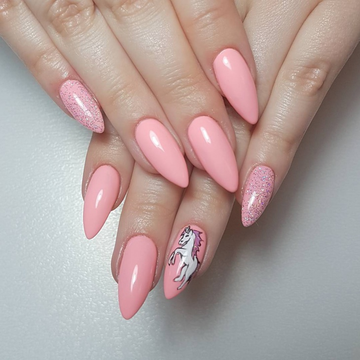 Cute Pink Hand Painted Nail Design
