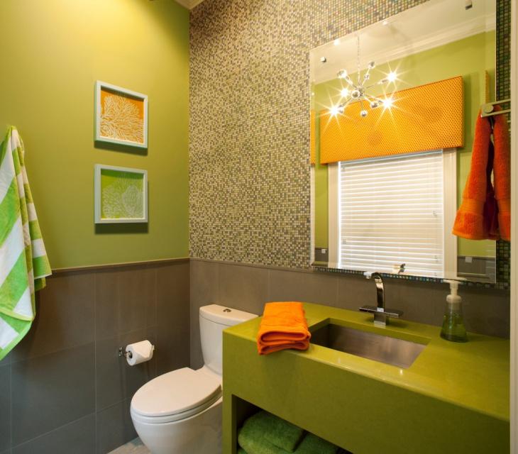 Yellow Gray And White Bathroom