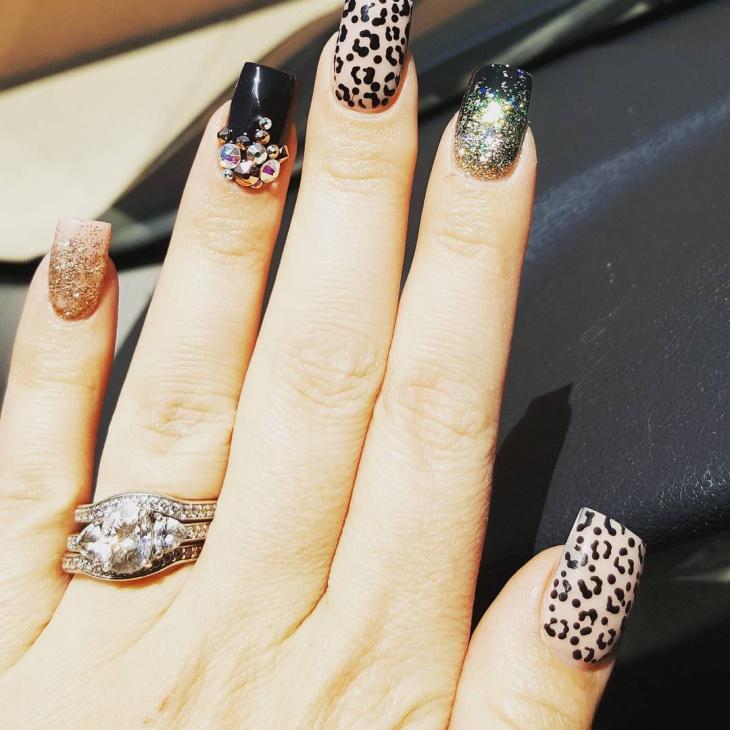 Crystal Leopard Nail Art