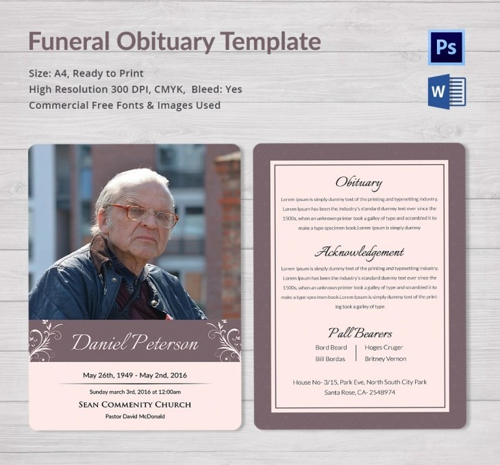 5 Funeral Obituary Templates Free Word PDF PSD Documents Download Program Design Trends